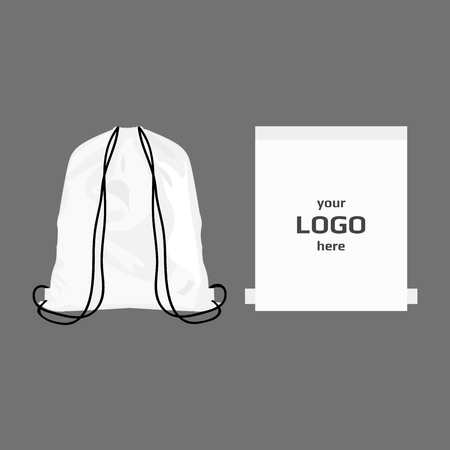 Drawstring sport bag white color, place for logo isolated vector Banco de Imagens - 66584080