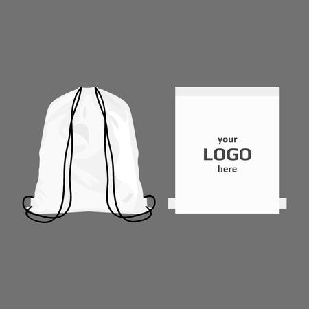 Koord sporttas witte kleur, plaats voor embleem geïsoleerd vector