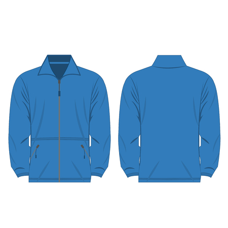fleece: light blue color fleece outdoor jacket isolated vector on the white background Illustration