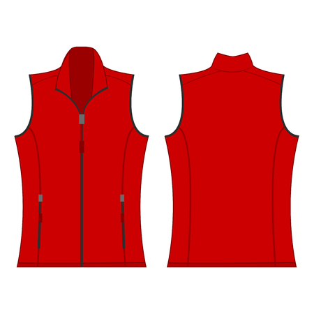 waistcoat: red color autumn fleece vest isolated vector on the white background Illustration