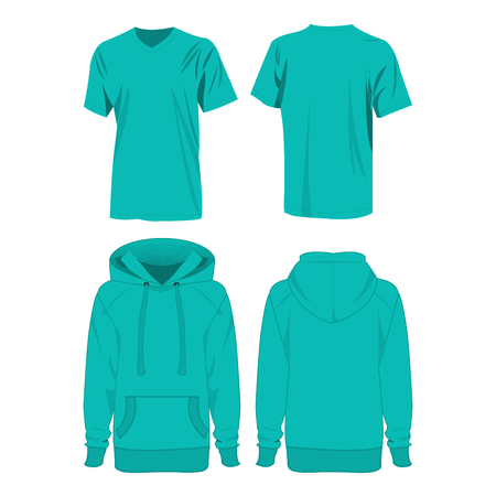 hooded: turquoise color hoodie and t-shirt isolated vector set on the white background