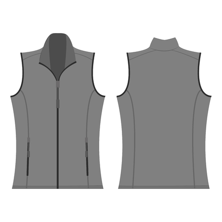 grey color autumn fleece vest isolated vector on the white background