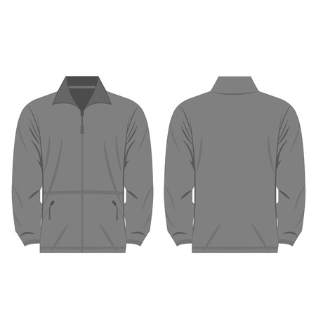 Grey color fleece outdoor jacket isolated  on the white background