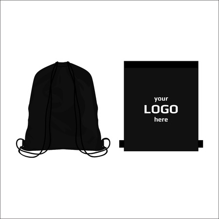 Drawstring sport bag black color, place for logo isolated