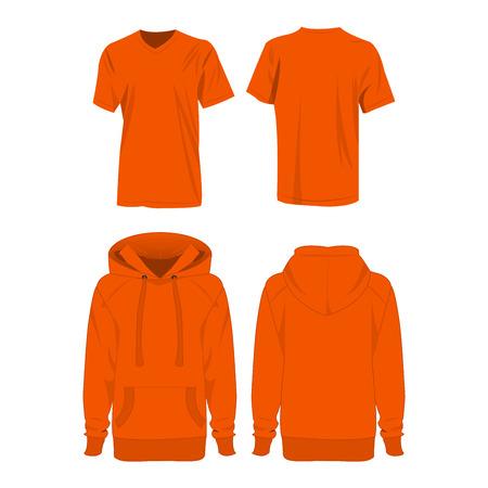 Orange hoodie and t-shirt isolated set