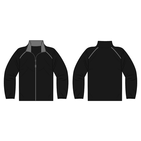 Black autumn, spring jacket isolated vector front and back for promotion advertising 矢量图像