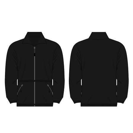 smock: black color fleece outdoor jacket isolated vector on the white background Illustration