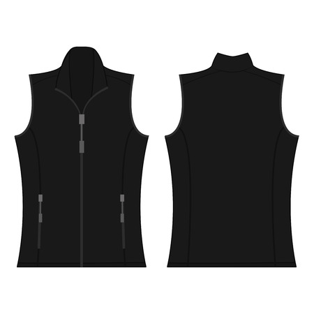black color autumn fleece vest isolated vector on the white background