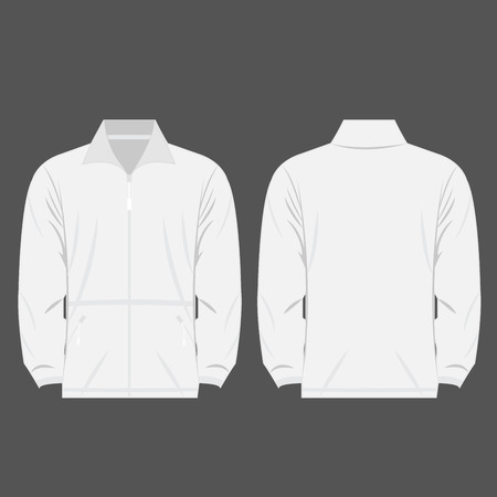 outdoor advertising: white color fleece outdoor jacket isolated vector front and back for promotion advertising