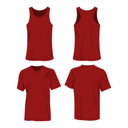 dark red, burgundy color sport top and t-shirt isolated vector set
