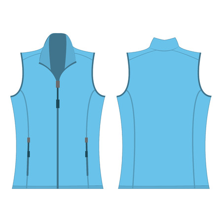 spring coat: baby blue color autumn fleece vest isolated vector Illustration