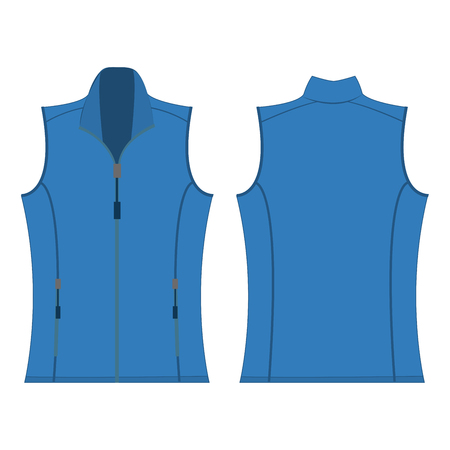 zip hoodie: light blue color autumn fleece vest isolated vector on the white background