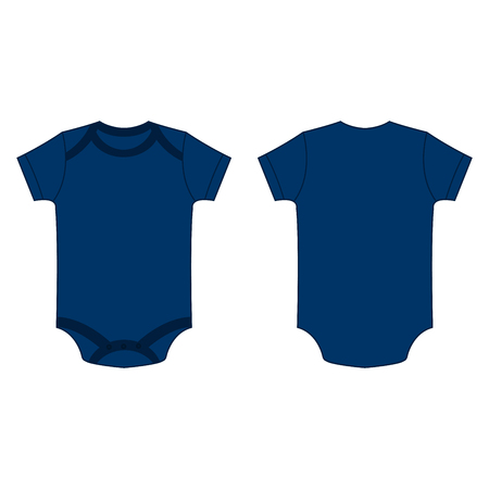 romper: navy blue baby bodysuit romper vector isolated front and back