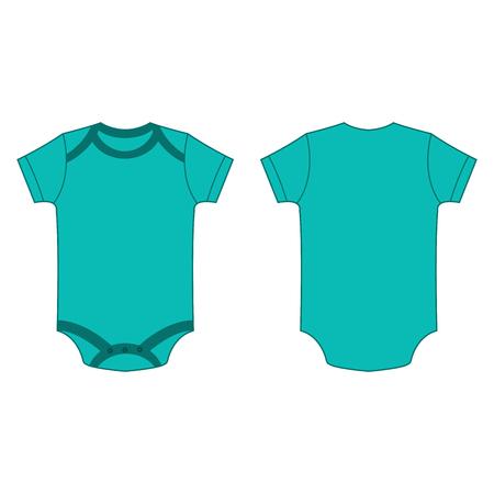 türkis Baby Body Spielanzug Vektor isoliert Vorder- und Rückseite