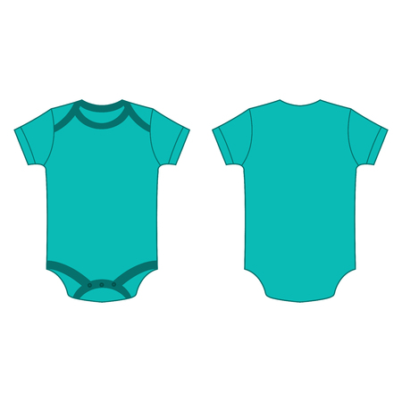 bodysuit: turquoise baby bodysuit romper vector isolated front and back
