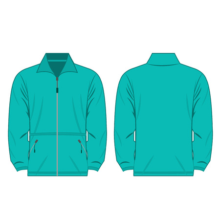 turquoise color fleece outdoor jacket isolated vector on the white background Illustration