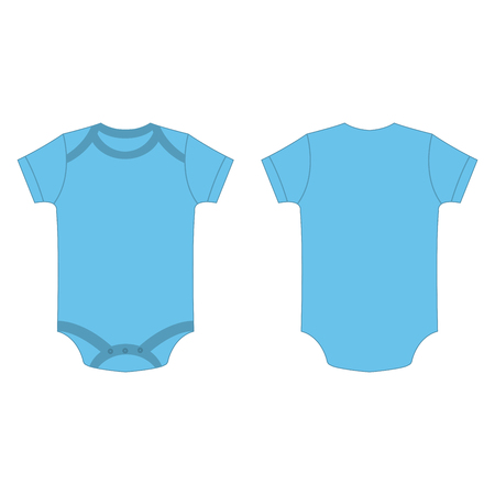 baby blue color baby bodysuit romper isolated vector on the white background
