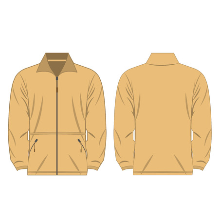 light brown color fleece outdoor jacket isolated vector on the white background