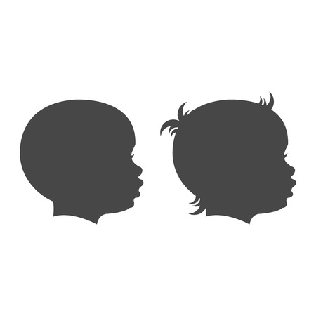 profile silhouette: Baby boy and baby girl face profile isolated vector set on the white background