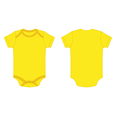 yellow baby bodysuit romper isolated vector on the white background