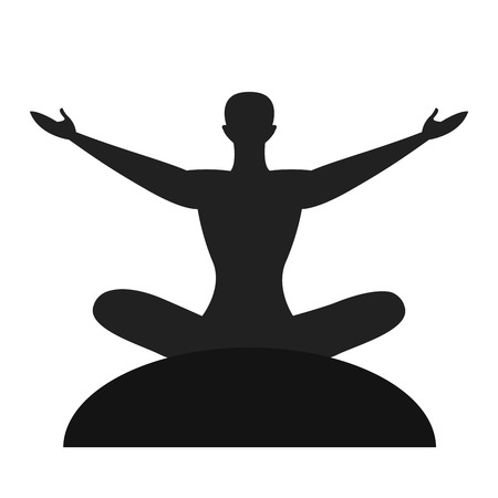 Silhouette of the meditate person isolated vector on the white background Illustration