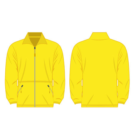 yellow jacket: yellow color fleece outdoor jacket isolated vector on the white background