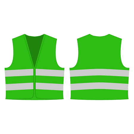 light green reflective safety vest for people isolated vector front and back for promotion on the white background