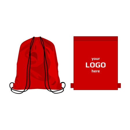 Drawstring sport bag red color, place for logo isolated vector on the white background