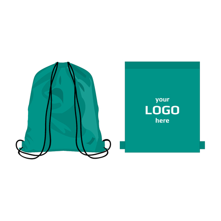 Drawstring sport bag teal color, place for logo isolated vector on the white background