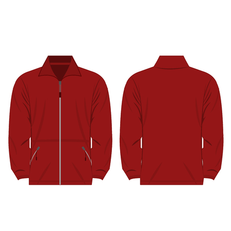 fleece: dark red color fleece outdoor jacket isolated vector on the white background Illustration