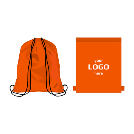 Drawstring sport bag orange color, place for logo isolated vector