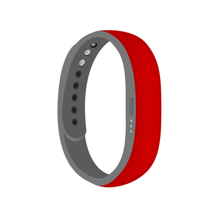Red color smart band vector isolated on the white background Illustration