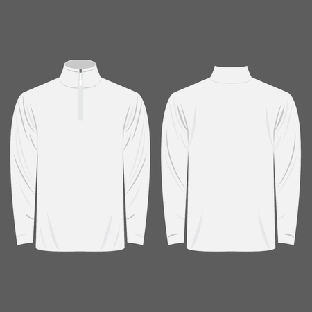 Half-Zipper long sleeve white Shirt isolated vector