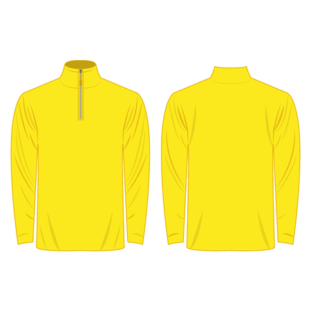 white sleeve: Half-Zipper long sleeve yellow Shirt isolated vector on the white background
