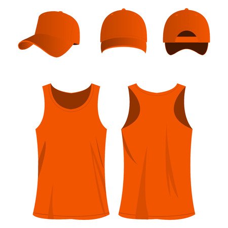 orange sport top and cap isolated vector set Illustration