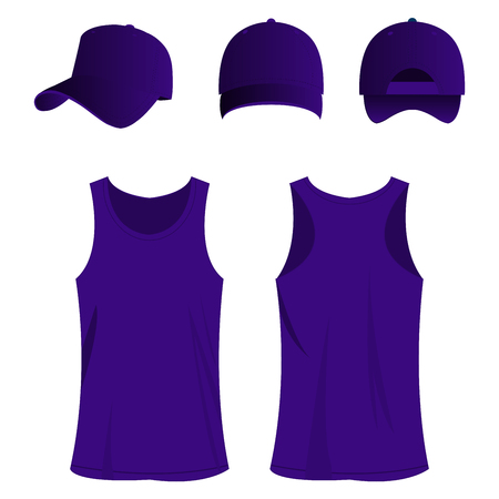 raglan: violet sport top and cap isolated vector set