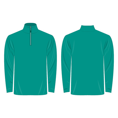 sleeve: Half-Zipper long sleeve teal Shirt Illustration