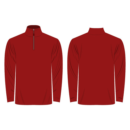 red shirt: Half-Zipper long sleeve dark red Shirt isolated vector on the white background