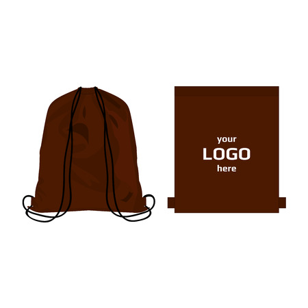 polyester: Drawstring sport bag brown color, place for logo isolated vector
