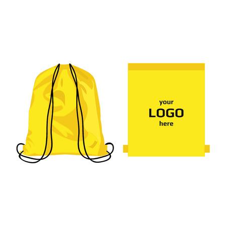 巾着スポーツ バッグ イエロー色、ロゴ分離ベクトルのための場所