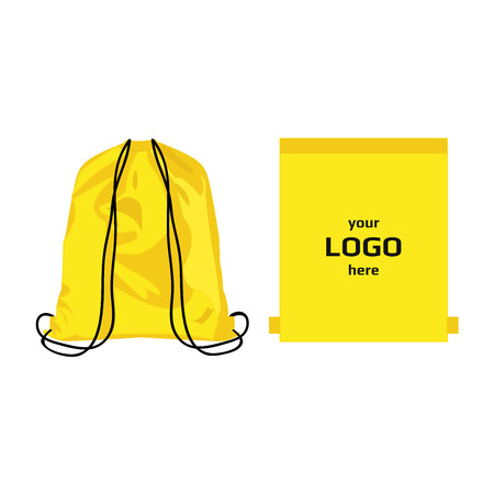 Drawstring sport bag yellow color, place for logo isolated vector Stock Vector - 68475461