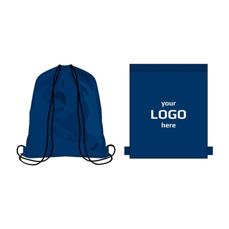 Drawstring sport bag blue color, place for logo isolated vector Illustration
