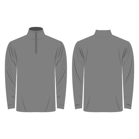 Half-Zipper long sleeve grey Shirt isolated vector on the white background 矢量图像