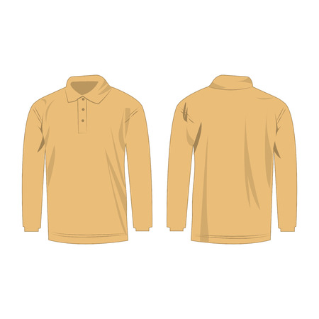 light brown: Light brown polo with long sleeve isolated vector Illustration