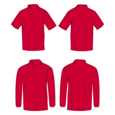 Hot pink polo shirt and polo with long sleeve isolated vector set Çizim