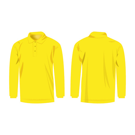 sleeve: Yellow polo with long sleeve isolated vector