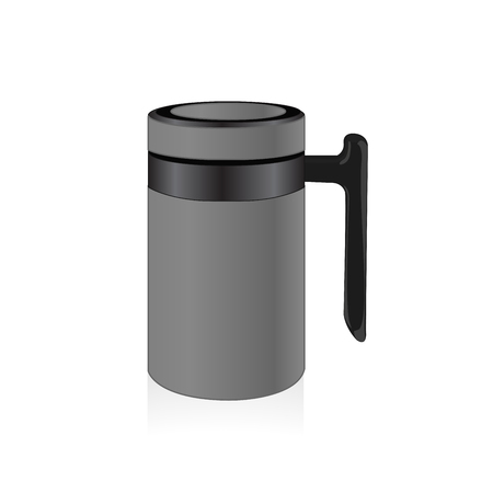 thermo: Vector grey color thermo mug, travel mug, thermos isolated on white background Illustration