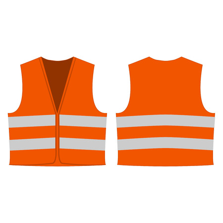 orange reflective safety vest for people isolated  front and back for promotion.