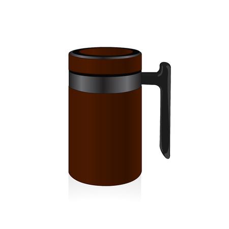 thermo: Brown color thermo mug, travel mug, thermos.