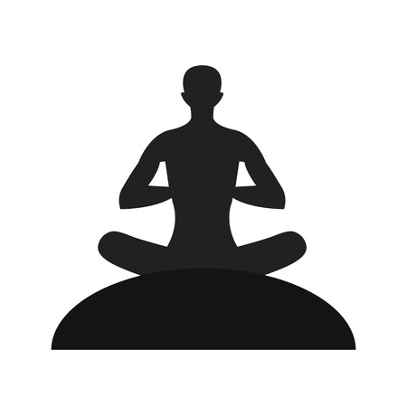 Silhouette of the meditate person. 일러스트